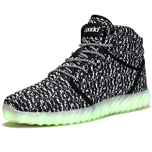 COODO Men Women Kids LED Shoes 7-Color-Lights USB Charging Light up Sneakers 3-black/White