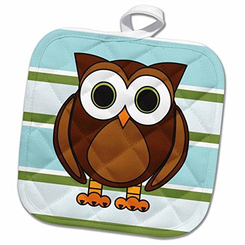 Woodland Pot Holder - 3dRose Janna Salak Designs Woodland Creatures - Cute Brown Owl Blue Green Stripe - 8x8 Potholder (phl_28537_1)