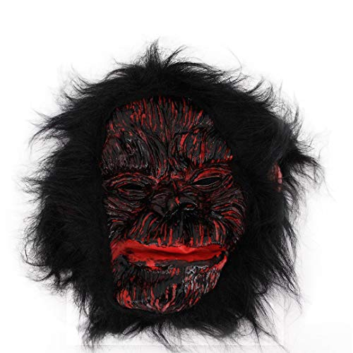 La moriposa Latex Monkey Mask Funny Horror Ugly Gorilla Mask with Hair Halloween Costume Party