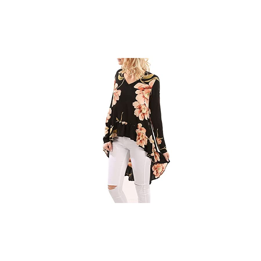 STORTO Women Long Sleeve Floral Print Shirt, Casual Blouse Ruffles Irregular Tops
