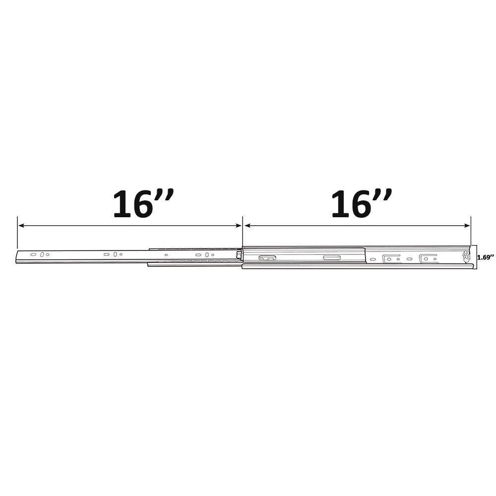 WMXQX 16 Inch Drawer Slides 5 Pair Full Extension Hardware Ball Bearing Side Mount Drawer Slides