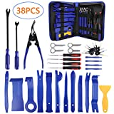 AUTDER 38 Pcs Car Trim Removal Tool Kits Upholstery Tools Pry Kit Door Panel Tool Radio Repair Modification Auto Clip Pliers Fastener Remover Pry Bar Set with Storage Bag
