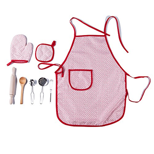 [Kidcia 8 Pcs Pretend Play Toys Set - Little Chef Role Play Costumes for Kids - Play Kitchen with Child Apron and Cooking Utensils for] (Chef Costumes For Kids)