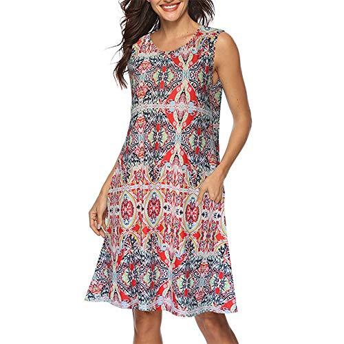 Women Summer Sleeveless Damask Print T-Shirt Dress with Pockets ()