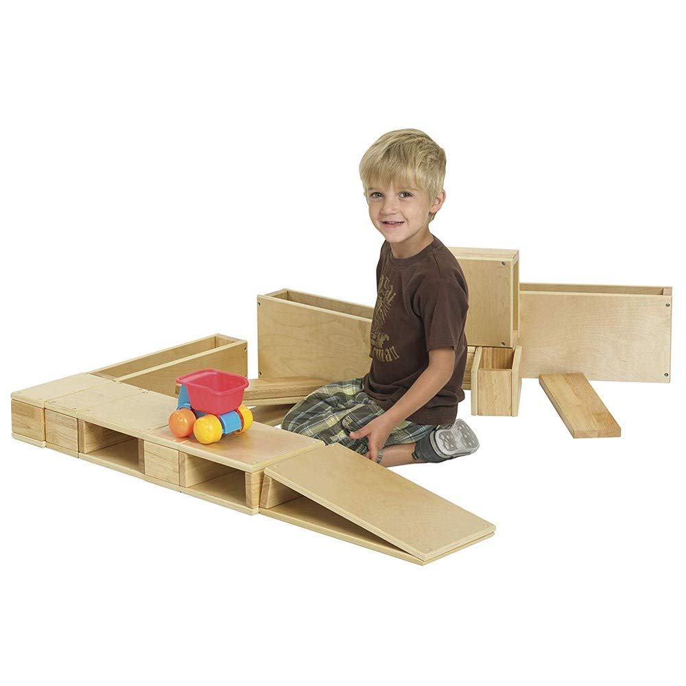 Over-Sized Hollow Wooden Block Set for Kids Play, Natural (18-Piece Set)