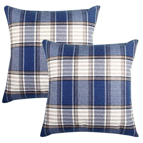 BEYONDY Set of 2 Throw Pillow Covers, Christmas Pillow Cover 18 x 18 Inch Decorative Cushion Cover Cotton Linen Pillowcases for Sofa Bedroom Car (Cream White/Blue Plaid)