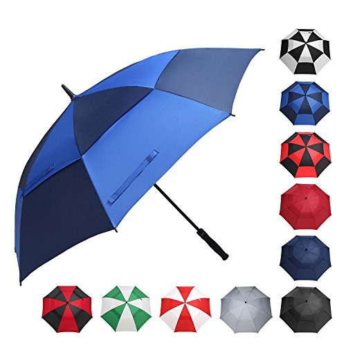 BAGAIL Golf Umbrella 68/62/58 Inch Large Oversize Double Canopy Vented Windproof Waterproof Automatic Open Stick Umbrellas for Men and Women (Double Navy Royal Blue, 68inch) ()