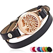 BRIGHTSHOW Essential Oil Diffuser Bracelet,Stainless Steel Aromatherapy Locket Novelty Bangle Bracelets Leather Band with 10 Color Pads,Girls Women Mens Bracelets JewelryGift