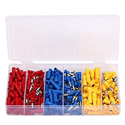 Ginsco 260pcs Insulated Female&Male Bullet Butt Connector wire Crimp Terminals Set Red Blue Yellow