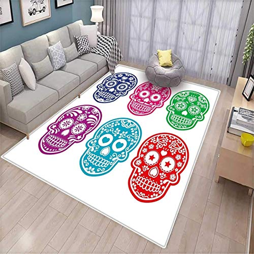 Day of The Dead Bath Mats for Floors Skull Oriental Mexican Sugar for Festive Day Door Mat Indoors Bathroom Mats Non Slip Purple Fuchsia Indigo Turquoise Green