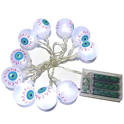 Battery Operated LED String Lights 10 LEDs White Eyeball Lights Halloween Decoration Light]()