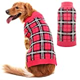 Cheap PUPTECK Classic Plaid Style Dog Sweater – Puppy Festive Winter Clothes Pink Large