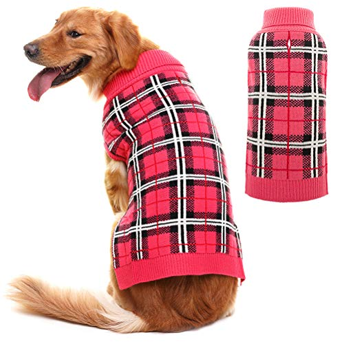 PUPTECK Classic Plaid Style Dog Sweater - Puppy Festive Winter Clothes Pink Large