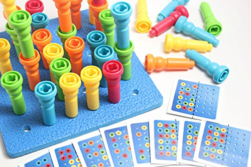 Peg Board WITH PATTERN CARDS - Fine Motor Toy for Toddler...