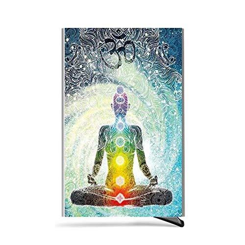 up Lycra morden Buddha 2 Credit Rfid Card Holder Pouch With Blocking Zen Design Aluminum Mandala Pop Bohemia Silver Automatic Minimalist Meditation Warfare TOBqfY