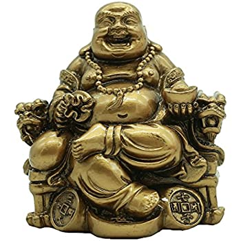 Chinese Handicrafts Resin Laughing Buddha Sitting on Dragon Chair Sculpture Wealth Lucky Statue Home Decoration Gift