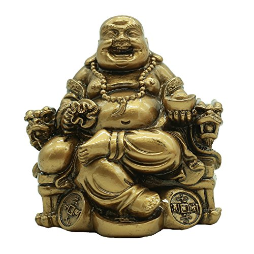 - Chinese Handicrafts Resin Laughing Buddha Sitting on Dragon Chair Sculpture Wealth Lucky Statue Home Decoration Gift