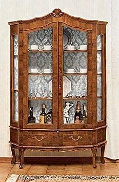 Cristalera tapizada – cm: 130 x 37 x 183 cm – de nogal – 2 puertas – 2 cajones – 4 estantes desplazables – Interior tapizado – 100% fabricado en Italia – (DF18)