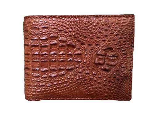 Vietnamcreations RFID Blocking Genuine Alligator/Crocodile or Ostrich Leather Bifold Wallet for Men Handmade (Brown, 4.7