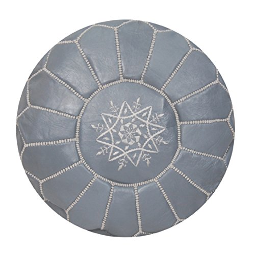 Grey Moroccan Pouf Unstuffed Authentic Handmade Genuine Leather