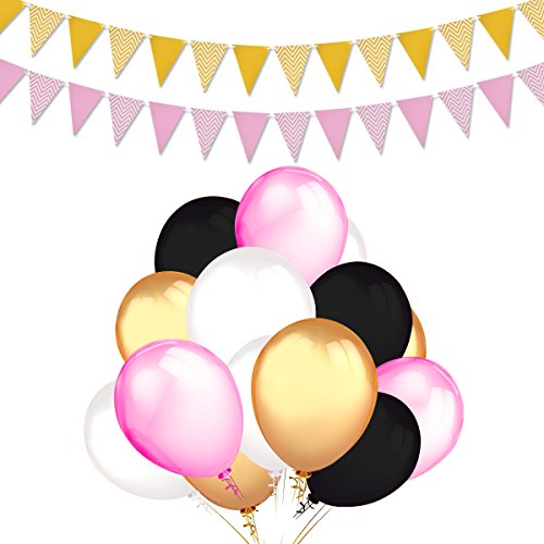 Balloons Party Decorations Supplies,100 Ct 12 ''Latex Party Balloons (Gold, White, Pink, and Black Colors),2-Pack Gold Pink Vintage Style Pennant Banner by Home - Pink And Black Gold