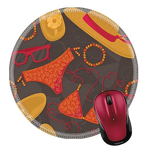 Liili Round Mouse Pad Natural Rubber Mousepad IMAGE ID: 25665160 bikini hut sunglasses bracelets flip flops summer outfit illustration elements on dark background seamless - Hut Sunglass Bath