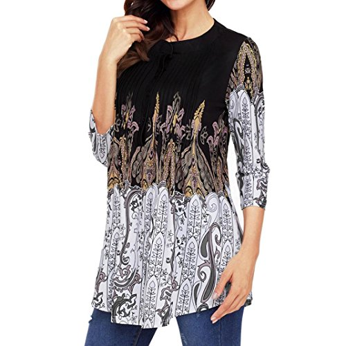 (Beautyfine Fashion Women 3/4 Sleeve Printed Blouse, Chic Daily Colorful Tops T-Shirts S-2XL)