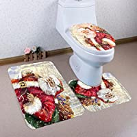 LLguz 3PCS Secure Comfortable Xmas Non-Slip Toilet Seat Cover+Foot Pad+Bath Mat Bathroom Set Christmas Toilet Decor