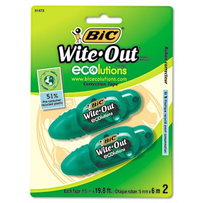 BIC WOETP21 Wite-Out Ecolutions Mini Correction Tape, White, 1/5-Inch x 235-Inch, 2/Pack