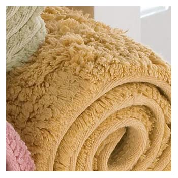 "Kashi Home Hailey Collection Rectangle Plush Bath Rug, 30"" X 18"" Decorative Bathroom Rug, Gold delicate"
