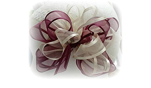 Christmas Hair Bows For Toddlers.Amazon Com Burgundy Ivory Cream Organza Hair Bow Newborns