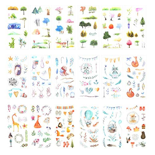 (Kawaii Washi Tape Set (18 Sheets) Spring Tree Cute Animal Rabbit Fox Bear Raccoon Gift Packing Label Bird Winter Snowman Floral Balloon Scrapbooking Diary Planner Journal Album DIY Decorative Stcker)