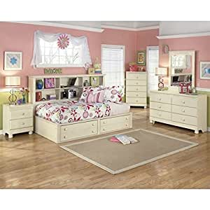 Ashley cottage retreat 5 piece wood twin bookcase bedroom set in cream kitchen dining for Cottage retreat bedroom set