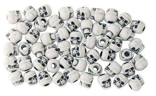 The Beadery 4-Ounce Bag of Skull Beads, White with Black Antiquing]()