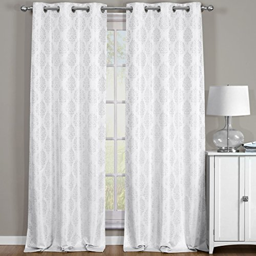 Off-White Paisley 76x108' Blackout Jacquard Textured Thermal Insulated Grommet Top Curtain Panels ( Set of 2 Panels )