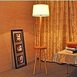 floor lamp Nordic living room bedroom bedside solid wood floor lamp simple coffee table logs floor lamp A+