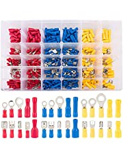 480 PCS Insulated Wire Connectors Kit, Electrical Connectors Wires Terminals Kit, Ring Fork Hook Spade Butt Splices Piggy Back