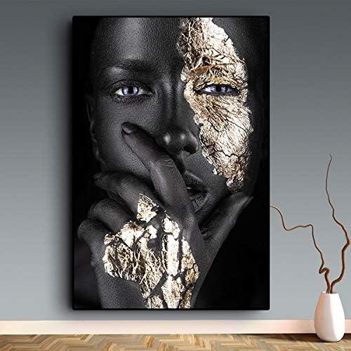 Modern Picture African Scandinavian Wall Art Canvas Poster Black Gold Woman