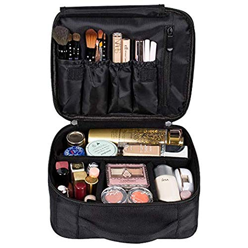 DreamGenius Makeup Bag Portable Travel Makeup Train Case with Adjustable Dividers and Brush Holder