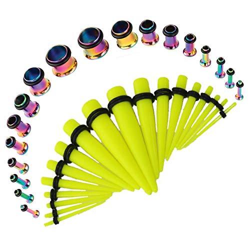 (BodyJ4You 36PC Gauges Kit 14G-00G Single Flare Rainbow Steel Tunnel Plugs Neon Yellow Acrylic Tapers)