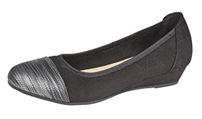 4df81391956 WOMENS WIDE EEE FIT LOW WEDGE SHOES SIZE 4 - 9 BLACK