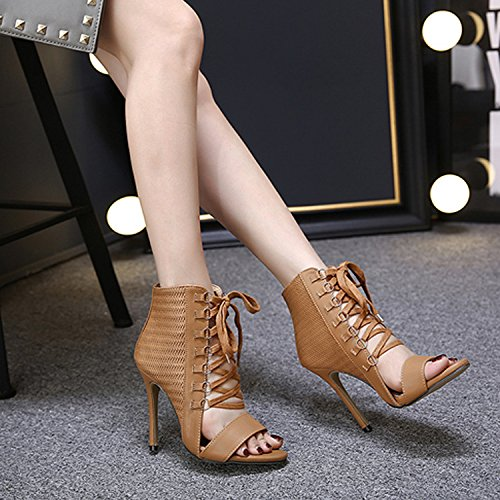 Shoes Leather Lace Court Heels Stiletto Summer CHNHIRA High Up Women's Brown EUqIWZ