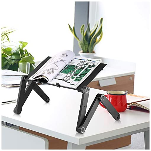 Cozime Laptop Table,Foldable Computer Desk,Laptop Stand Portable Table with Mouse Board for Bed Tray,Reading Bracket