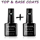 Nail Polish Base Coat Gellen UV/LED Soak Off Gel Nail Polish Top Coat and Base Coat Set - 10ml Each