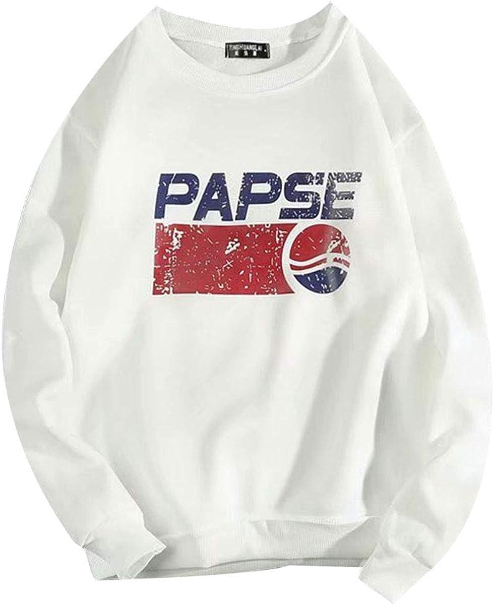 REPPUNK Mens Casual Warm Fleece Lined Sweatshirt Funny Printed Crew Neck Sport Shirts