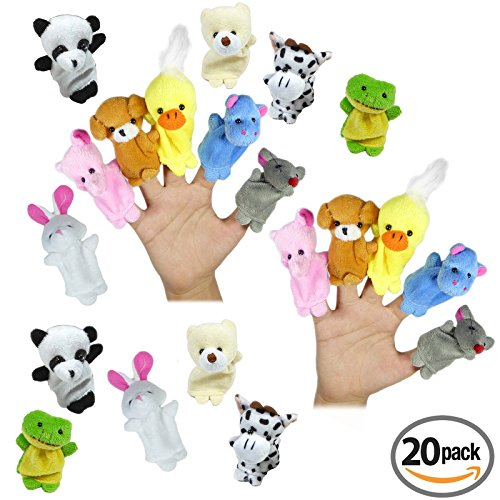 Animal Finger Puppets | Soft Velvet Cute Assorted Animals | Mini Prop Dolls Story Time, Shows, School Playtime | Party Favors, Goodie Bag Fillers | Baby, Children, Kids Educational Toy Set (20 Piece)