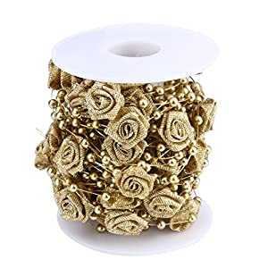 10m Artificial Pearls Beads Chain Garland Flowers Wedding Party Decoration Gold Roses Decorative Flowers Xiaolanwelc 111