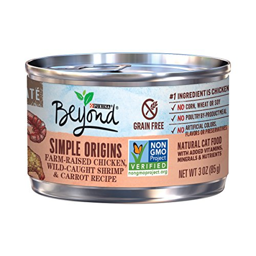 Purina Beyond Simple Origins Grain Free Natural High Protein Non Gmo, Farm Raised Chicken, Wild Caught Shrimp & Carrot Pate Recipe Canned Cat Food, 3 Oz, Case Of 12
