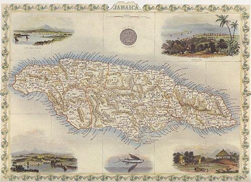 1800's JAMAICA KINGSTON PORT ANTONIO MAP VINTAGE POSTER (Jamaica Map)