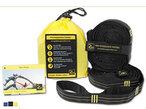 Hammock Tree Straps Pro. 100% No Stretch Polyester Suspension System Kit Heavy Duty. 23 Loops Each. Great Gift. Camping Hammock Accessories. PREMIUM QUALITY. (Black)